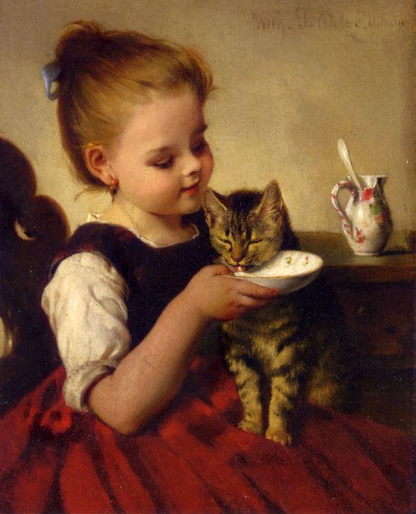 Лучшие друзья. Холст, масло. Вильгельм Шёцзе (1840-1898), немецкий художник. Частная коллекция