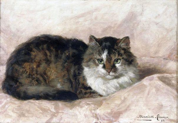На розовой подушке, 1897. Масло на дереве. Генриетта Роннер-Книп (1821-1909), бельгийская художница-анималистка голландского происхождения,