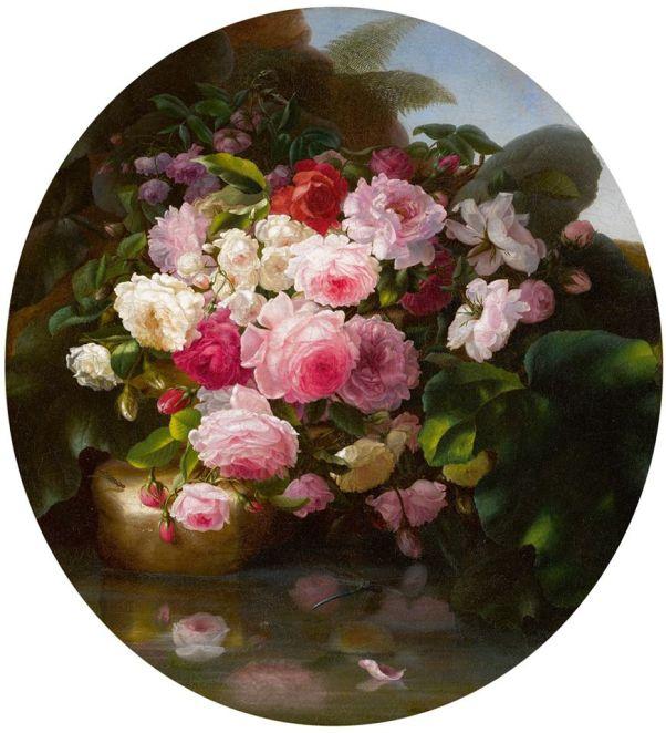 Натюрморт с розами 1860 Адельгейд Дитрих (1827-1891) Холст масло немецкий художник