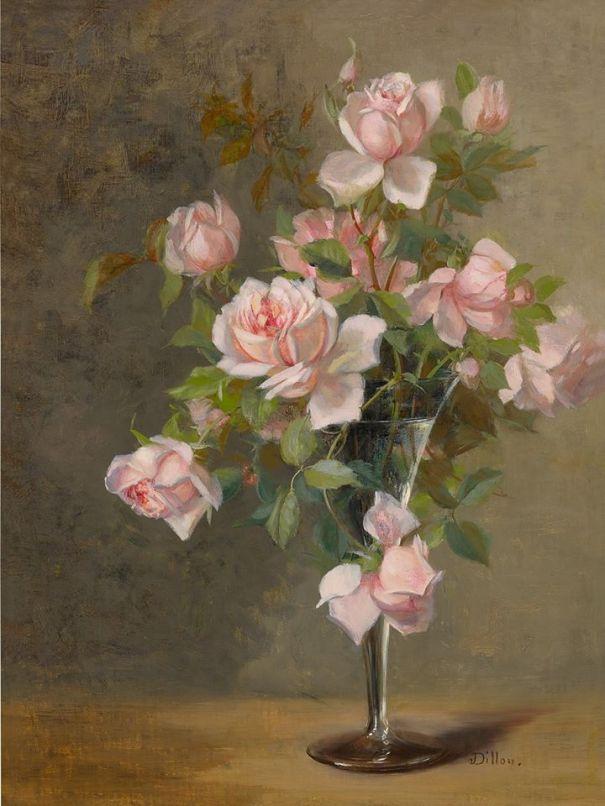 Розовые розы в стекле. Джулия МакЭнти Диллон (1834-1918), американская художница, известная своими цветочными картинами и натюрмортам