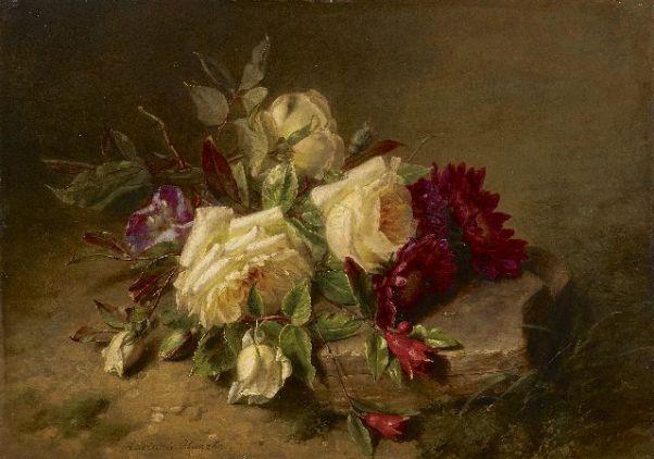 Розы и хризантемы на лесной земле. Масло на дереве. Адриана Хаанен 1814-1895 голландска художница