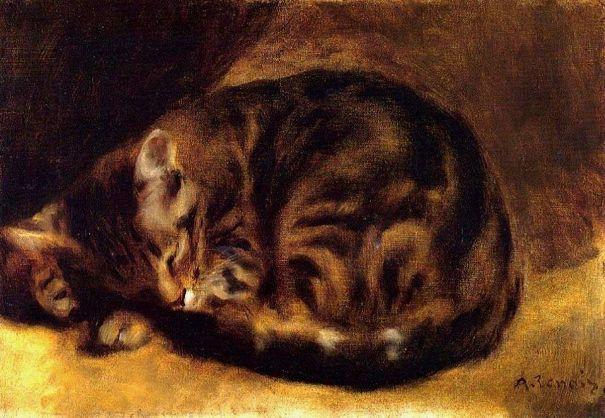 Спящий кот, 1862. Холст, масло. Пьер-Огюст Ренуар (1841-1919), французский художник. Частная коллекция