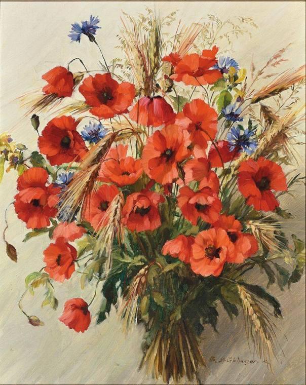 Букет из маков. Холст, масло. Брунхильда Штебингер (1912-2006), австрийский художник
