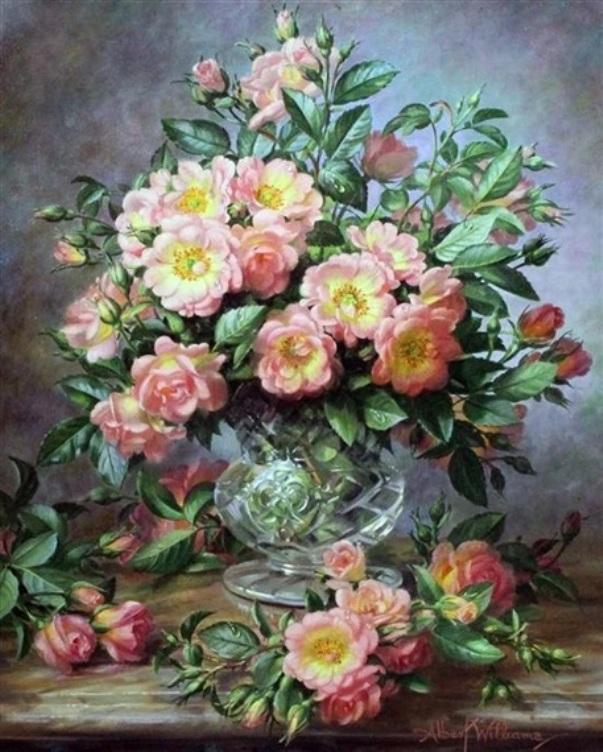 Дикие розы в вазе из хрусталя. Альберт Уильямс