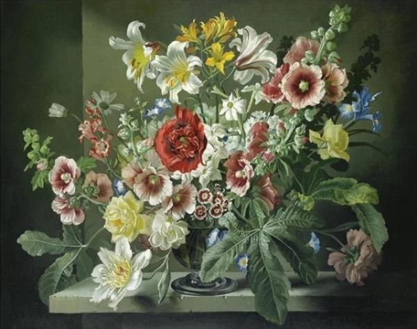 Ирис, турецкая гвоздика и другие цветы в серебряной чаше на каменном выступе. Джеральд Купер