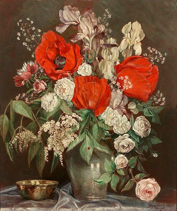Маки, розы, ирисы. Йоханна Мориц-Хоманн (1890 - ? )