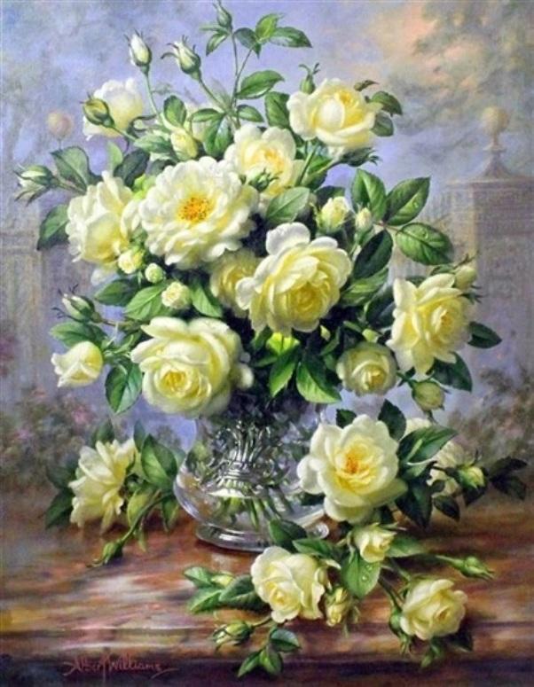 Кремовые розы перед воротами дворца. Альберт Уильямс
