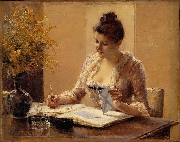 Леди, пишущая письмо, 1887. Nationalmuseum, Стокгольм. Альберт Эдельфельт (1854-1905)