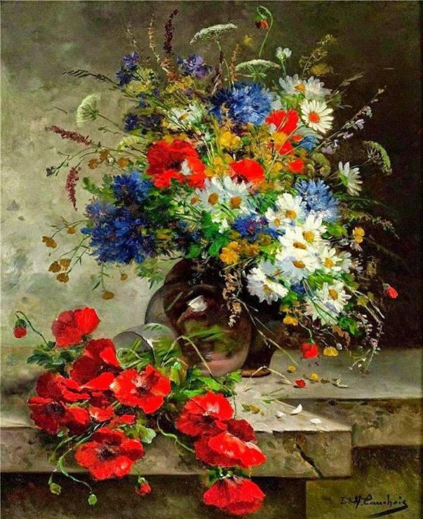 Летний букет с маками. Эжен Анри Кошуа (1850-1911), французский художник