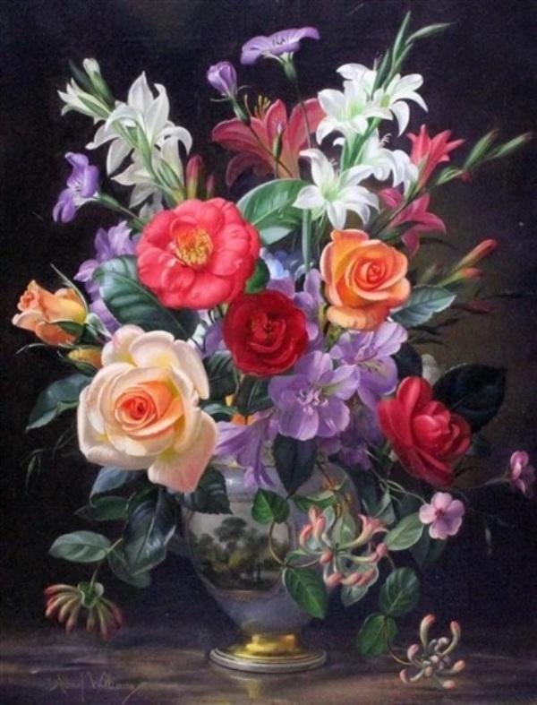 Летние цветы в парижской фарфоровой вазе. Альберт Уильямс