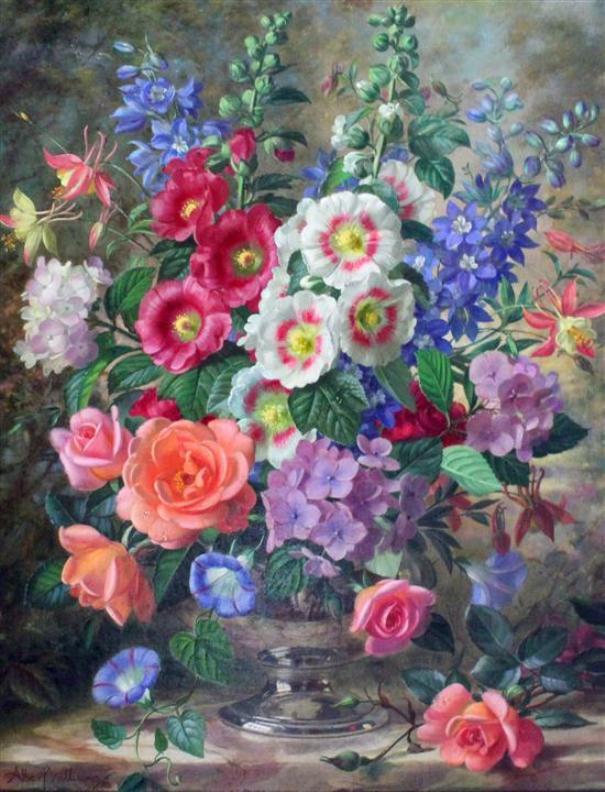 Летние цветы в серебряной вазе. Альберт Уильямс