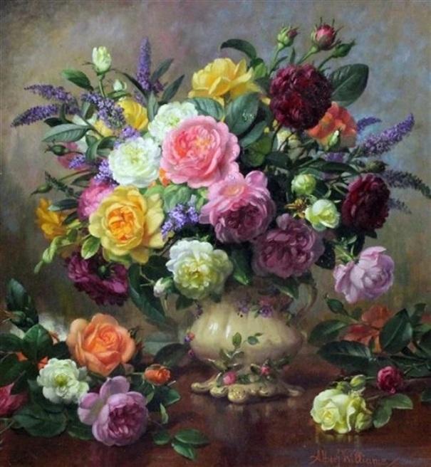 Летние цветы в викторианской вазе. Альберт Уильямс