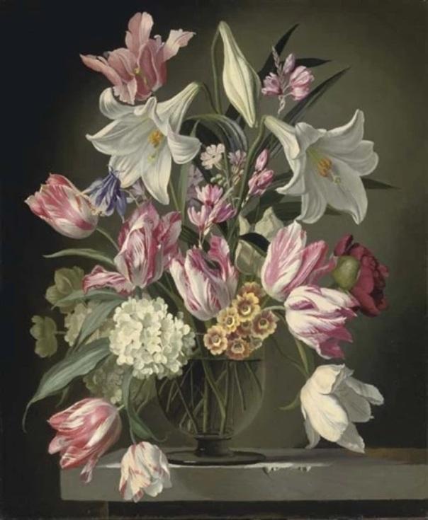 Лилии и тюльпаны в стеклянной вазе. Джеральд Купер