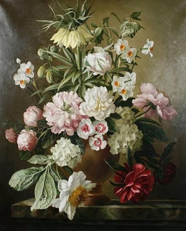 Лилия, пионы, нарциссы и розы в вазе на выступе. Холст, масло. Джеральд Купер