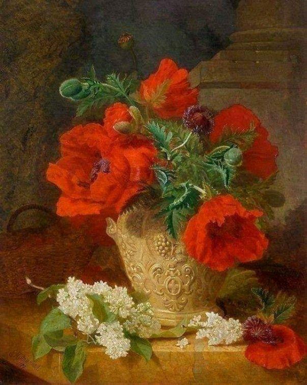 Маки и белая сирень. Элоиза Гарриет Стэннард (1829-1915), английская художница
