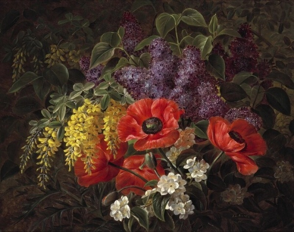 Маки, сирень, цветы лабурнума и яблони, 1855. Иоган Лауренц Йенсен (Johan Laurentz Jensen; 1800-1856), датский художник