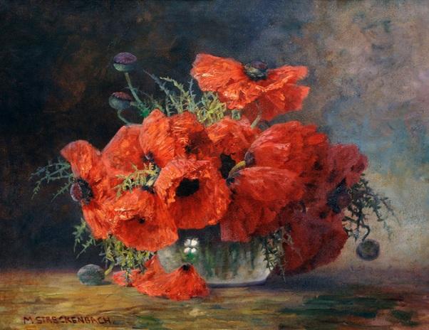 Маки в стеклянной вазе. Макс Теодор Штреккенбах (Max Theodor Streckenbach, 1865-1936), немецкий художник, прославился своими красочными букетами среди которых преобладают маки.