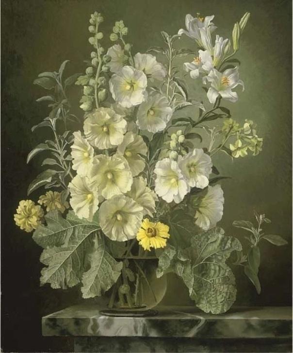 Мальвы, лилии и табачные цветы в стеклянной вазе на мраморном выступе. Холст, масло. Джеральд Купер