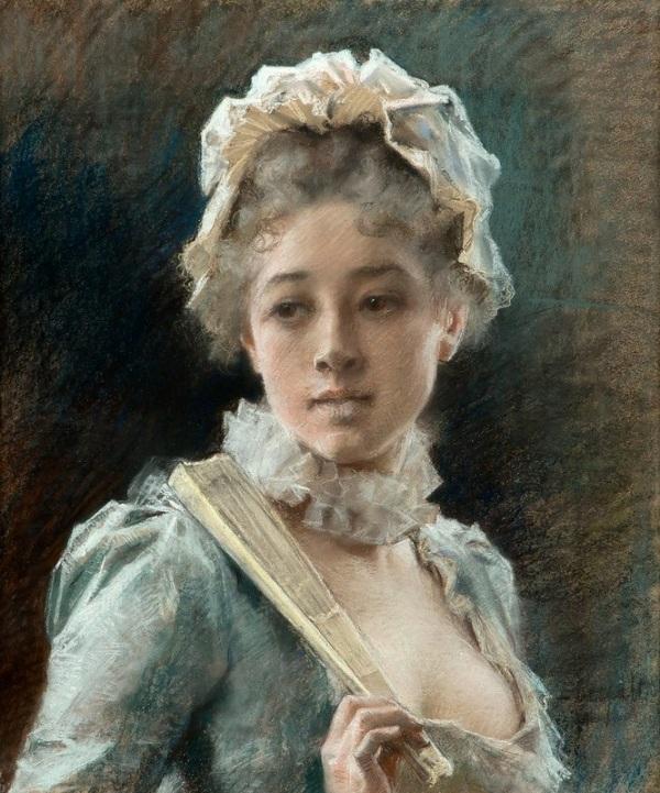 Молодая женщина с веером. Альберт Эдельфельт