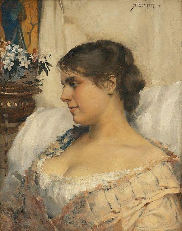 Молодая женщина в своем будуаре 1879. Холст масло.