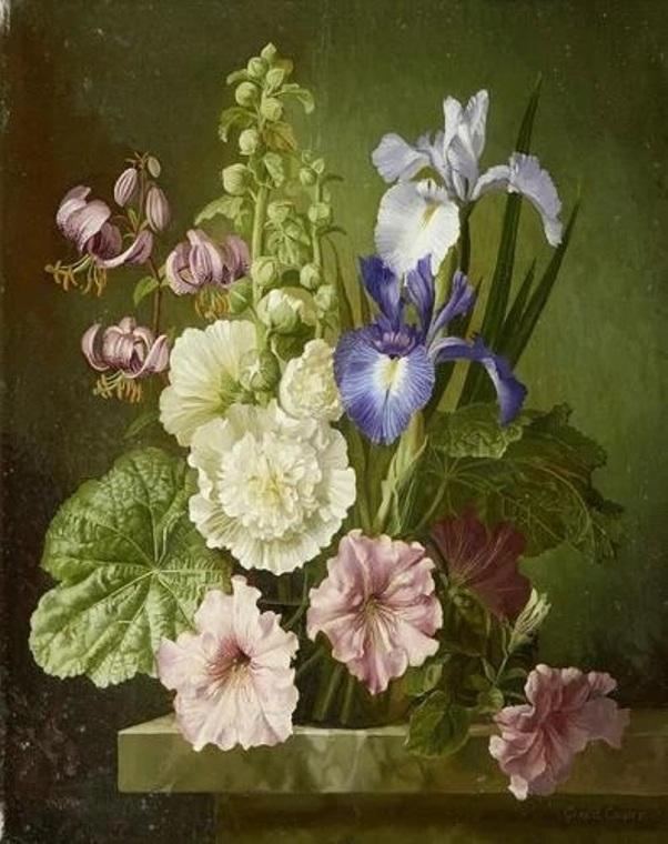Натюрморт из мальвы, ирисов, петуний и лилий