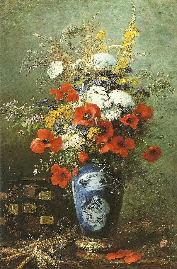Натюрморт с маками и полевыми цветами в китайской вазе. Алексис Джозеф Крейдер (1839-1912), французский художник.