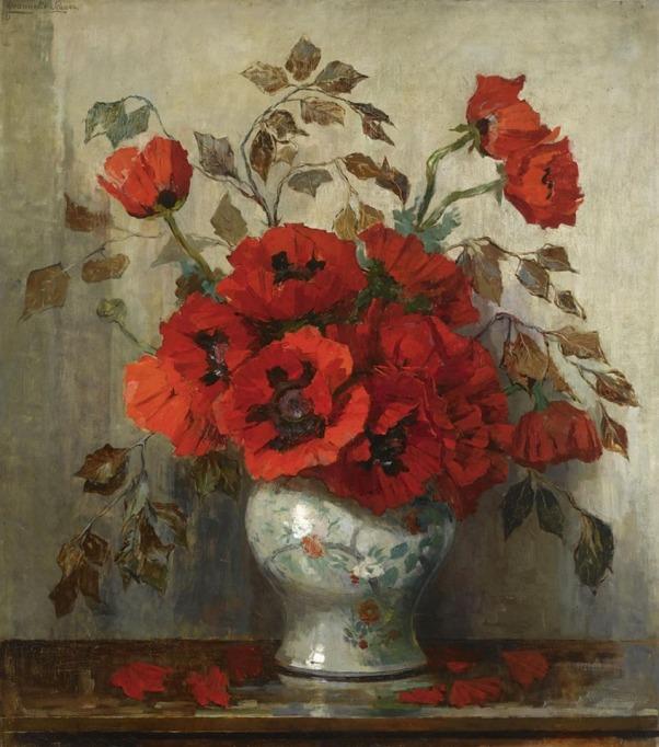 Натюрморт с маками в вазе. Jeanette Slager (1881-1945), голландская художница