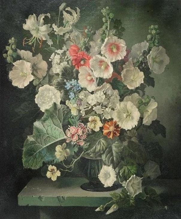 Натюрморт с мальвами, лилиями и другими цветами в вазе на уступе , 1946. Холст, масло. Джеральд Купер