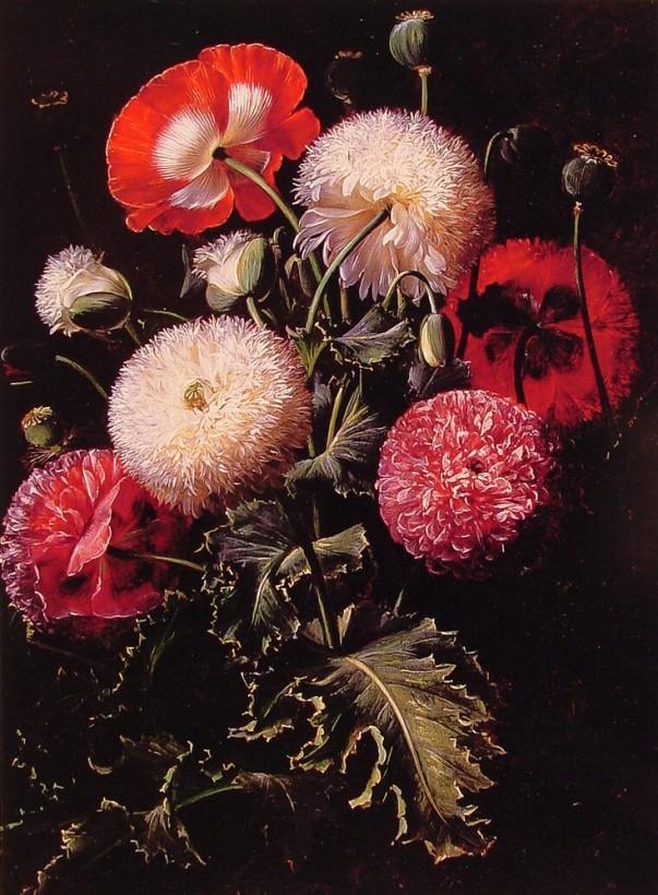 Натюрморт с розовыми, красными и белыми маками. Иоган Лауренц Йенсен (Johan Laurentz Jensen; 1800-1856), датский художник