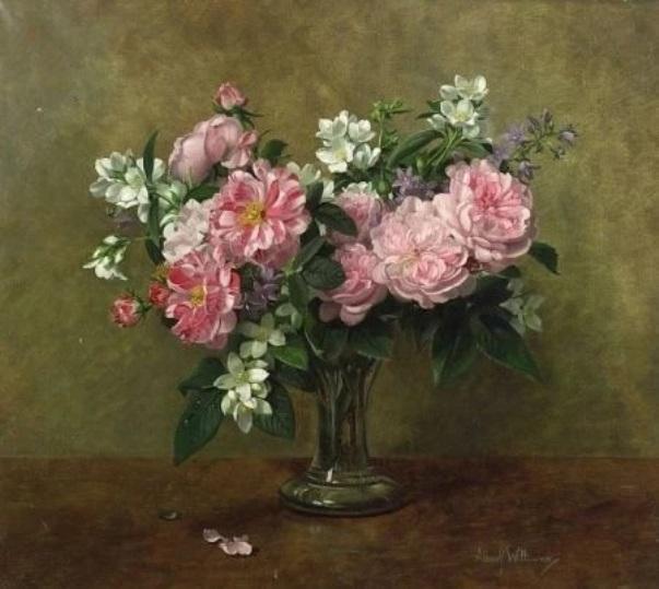 Натюрморт с розовыми розами. Альберт Уильямс
