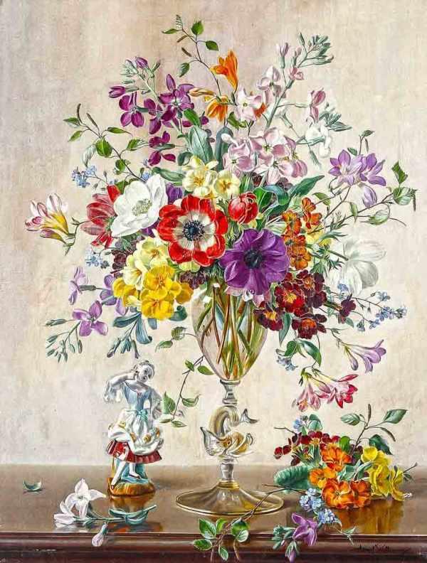 Натюрморт с цветами и фарфоровой статуэткой. Альберт Уильямс