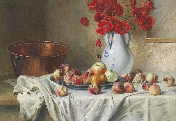 Натюрморт с яблоками и маками в кувшине, 1926. Макс Эберсбергер (Max Ebersberger, 1852-1926), немецкий художник