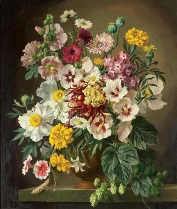 Осень - замысловатый цветочный натюрморт с маками, хризантемами, гвоздиками, флоксами и падубом. Масло на мазоните. Джеральд Купер