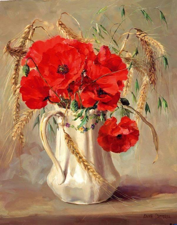 Полевые маки и пшеничные колоски. Энн Коттерилл (1933-2010), британская художница