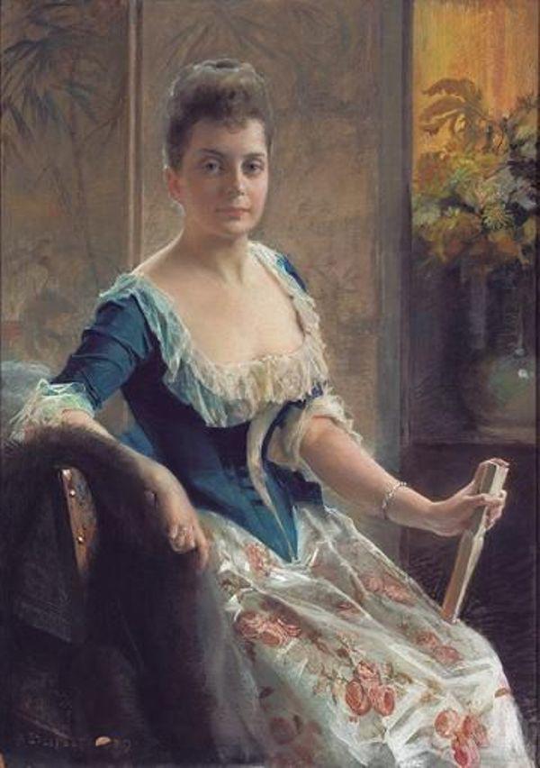 Портрет шведской дворянки, 1887. Альберт Эдельфельт. Гуашь и пастель, 115 х 81 см.