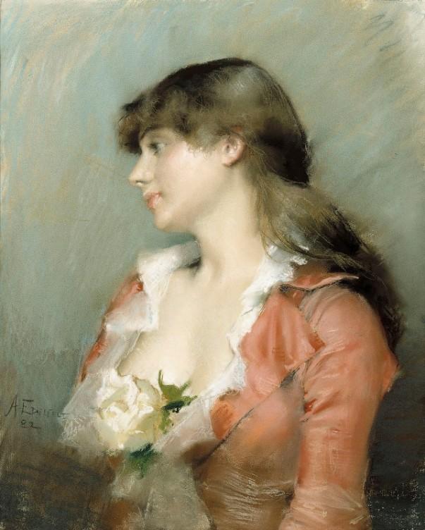 Профиль молодой женщины, 1882. Альберт Эдельфельт (1854-1905), финский художник