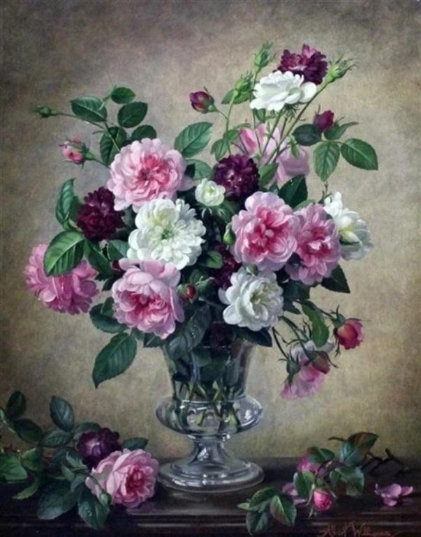Розовые и белые рохы в стеклянной вазе. Альберт Уильямс