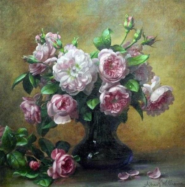 Розовые розы в стеклянной вазе. Альберт Уильямс