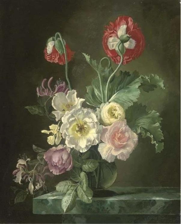 Розы и вьюнки в стеклянной вазе на каменном выступе. Джеральд Купер
