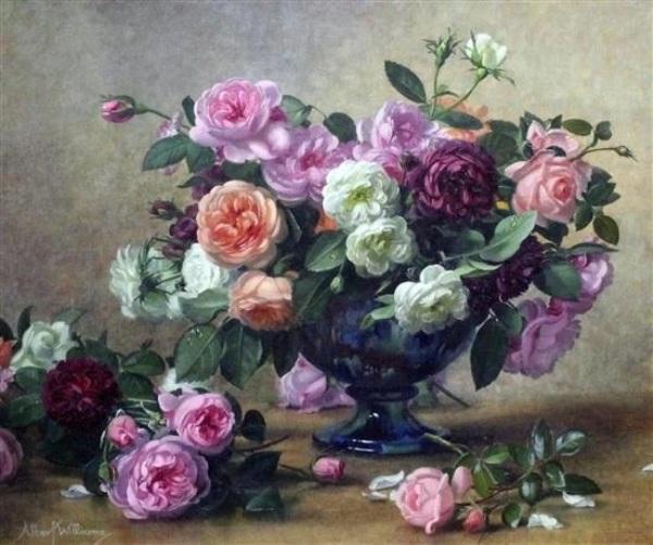 Розы в синей вазе. Альберт Уильямс
