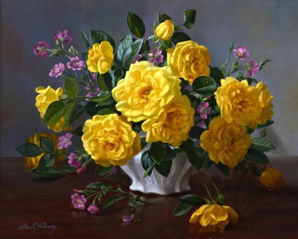 Желтые розы в вазе. Альберт Уильямс