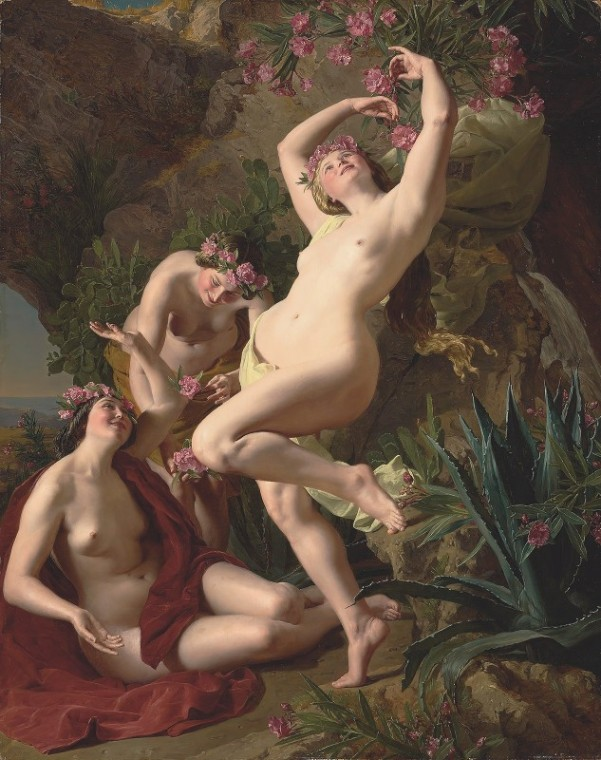 Three Graces Garlanded With Roses, 1856. Ferdinand Georg Waldmüller (Austrian, 1793-1865)