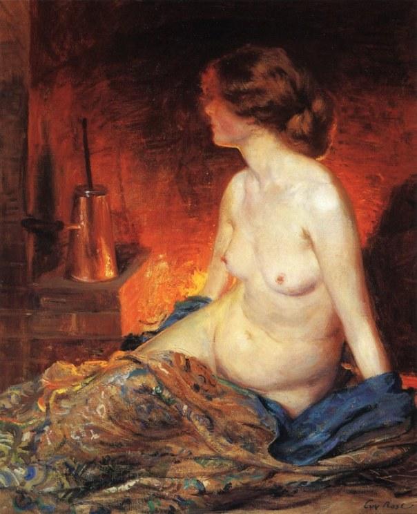 У камина. Ги Орландо Роуз (англ. Guy Rose; 1867-1925), американский художник
