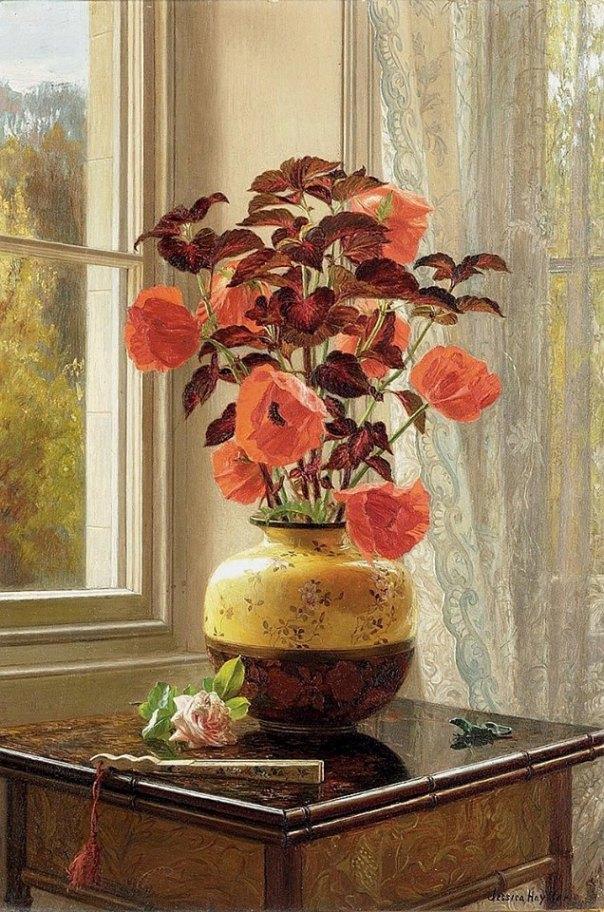 Восточный мак и колеус в вазе из перегородчатой ткани, с веером на столе из искусственного бамбука, надпись (на обороте). масло на дереве. Джессика Хейллар (Jessica Hayllar, 1858-1940). английская художница