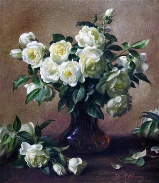Жёлтые розы в стеклянной вазе. Альберт Уильямс