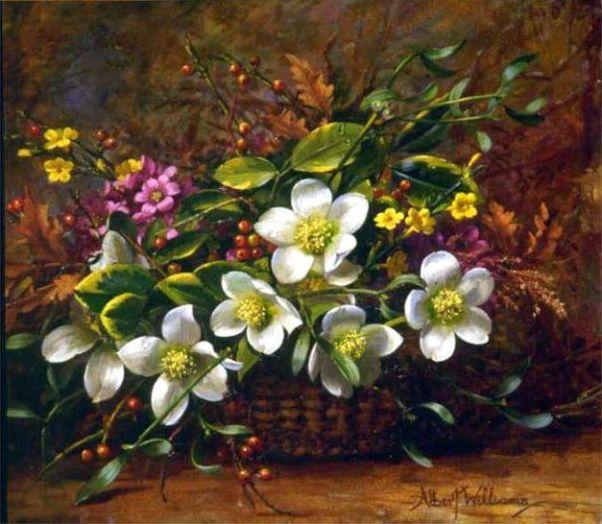 Зимние цветы в корзине. Альберт Уильямс