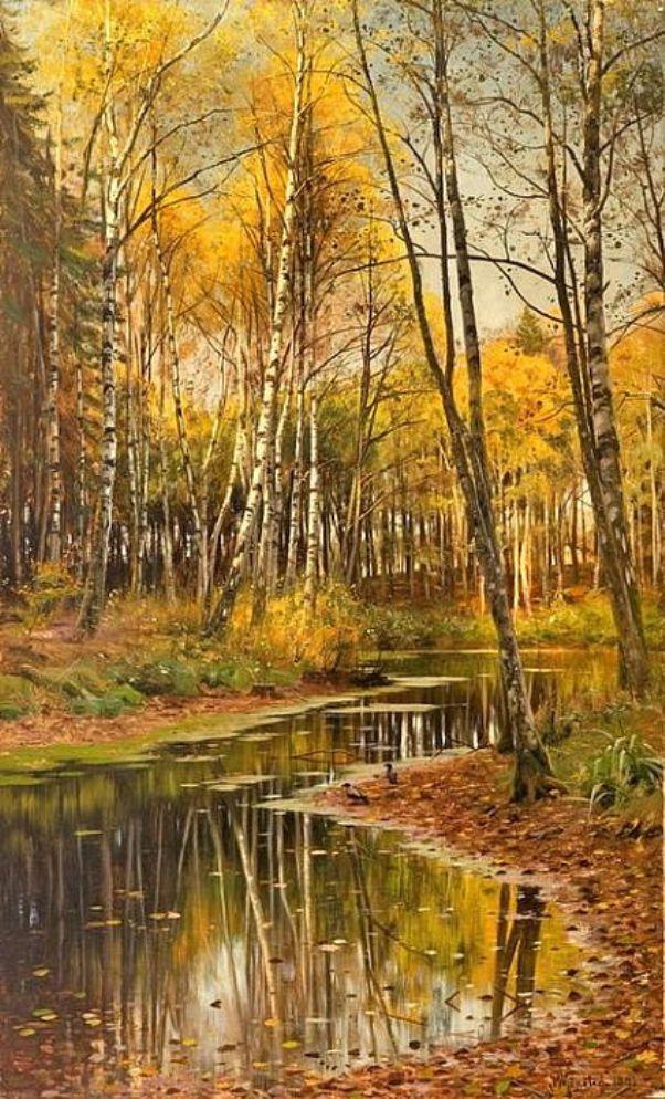 Берёзовый лес в осеннем свете. Петер Мёрк Мёнстед (1859-1941), датский художник