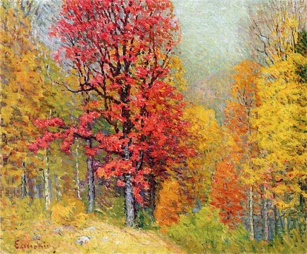 Осенний пейзаж. Джон Эннекинг (англ. John Joseph Enneking; 1841-1916), американский художник-импрессионист, член Бостонской школы живописи.