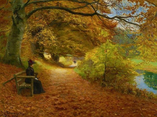 Лесная дорога осенью, 1902. Ганс Андерсен Брендекильде (1857-1942), датский художник.