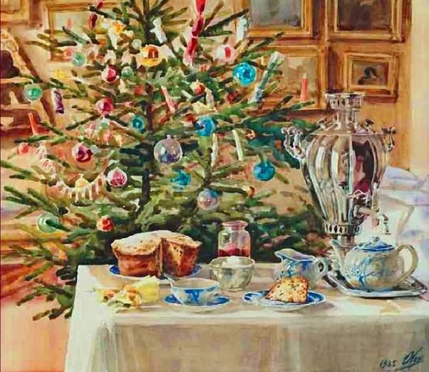 Новогоднее угощение. Ольга Александровна Романова (1882-1960), великая княжна Российского императорского дома, художница